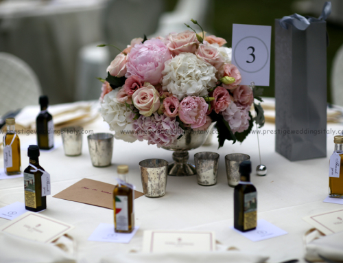 Wedding decor with roses, peonias and hydrangea for wedding in Italy