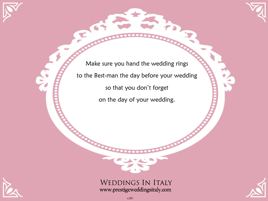 Wedding tip prestige weddings italy wedding tip junglespirit Gallery