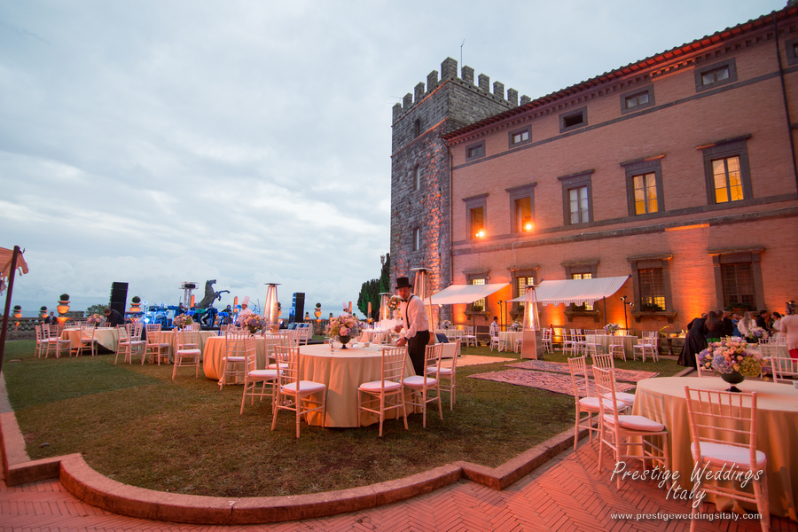 The courtyard at the sunset in your wedding castle in Italy