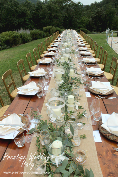 Long Table For 42 People Wedding In Italy