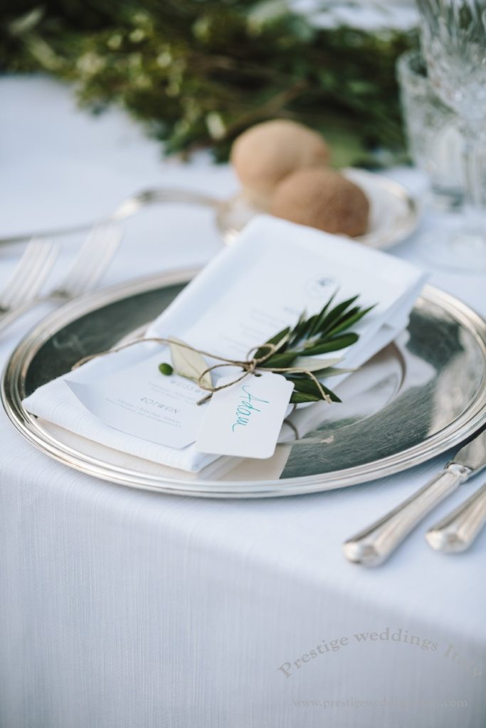 Silver charger and cutlery, olive branch