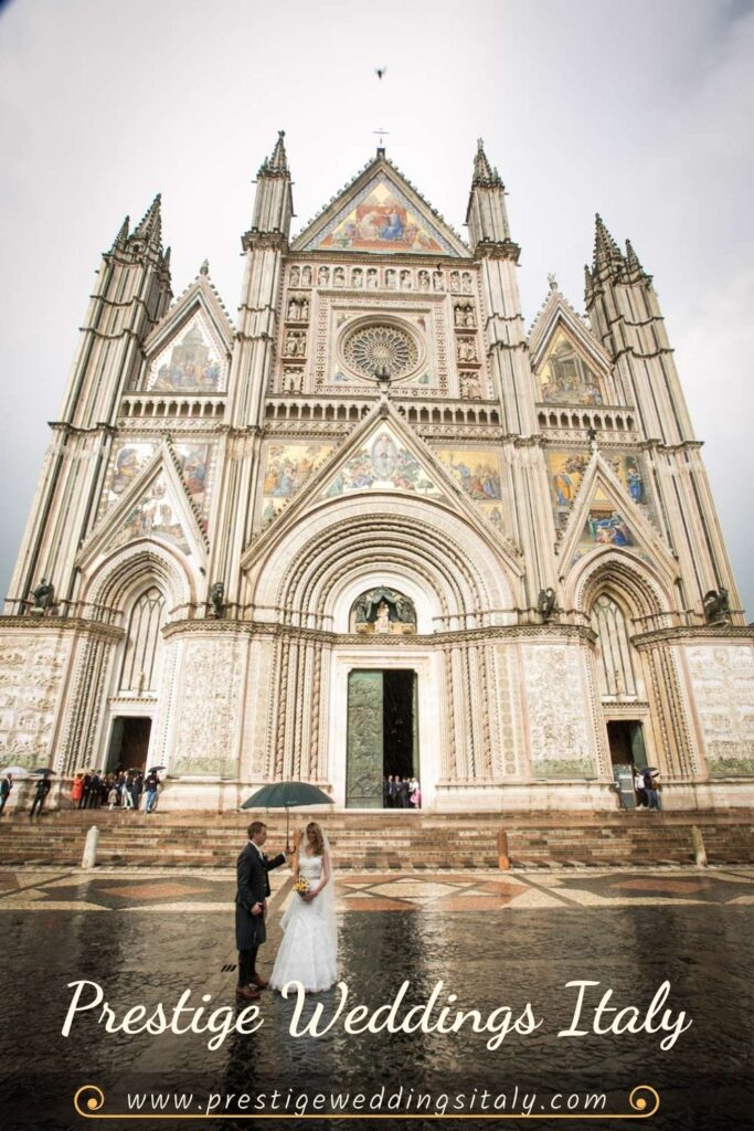 wedding in Orvieto bride and groom in front of the Cathedral